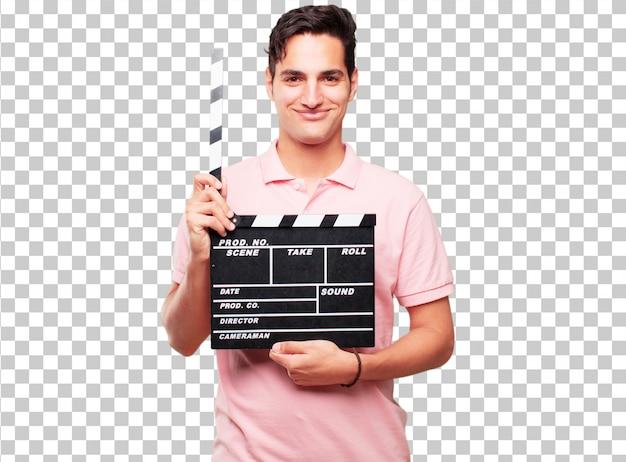 Junger hübscher gebräunter mann mit einem kinoscharnierventil