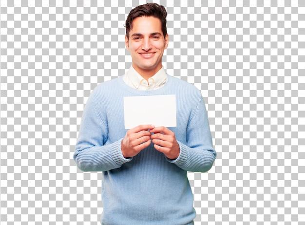 Junger hübscher gebräunter mann mit einem plakat