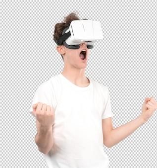 Junger kerl, der virtuelle gläser verwendet