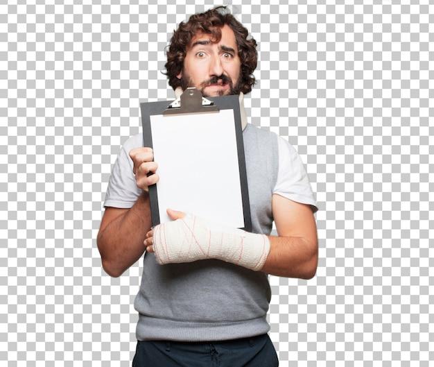 Junger mann gebrochene knochen. verletzung und opfer eines unfallkonzeptes