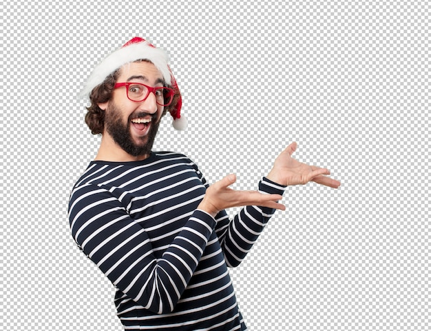 Junger mann weihnachten konzept