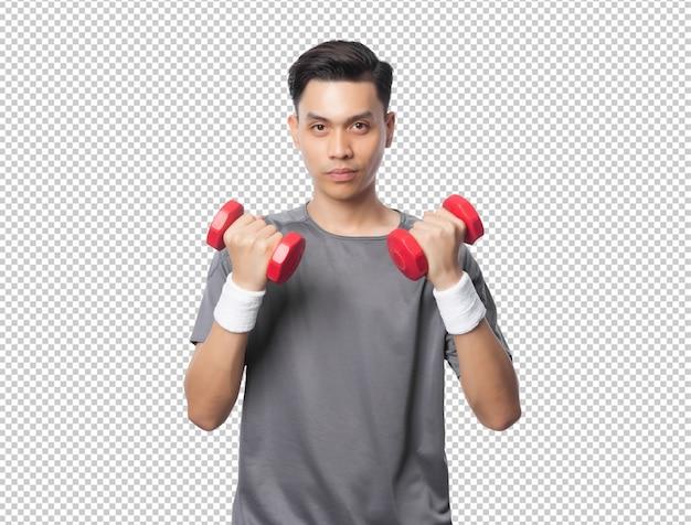 Junger schöner asiatischer sportmann, der mit hanteln ausübt