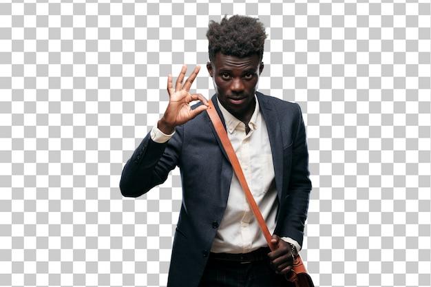 Junger schwarzer geschäftsmann, der ein zeichen in ordnung macht