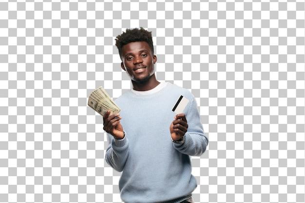 Junger schwarzer mann mit einer kreditkarte. geld konzept