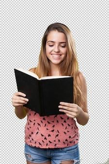Junger student, der ein buch liest
