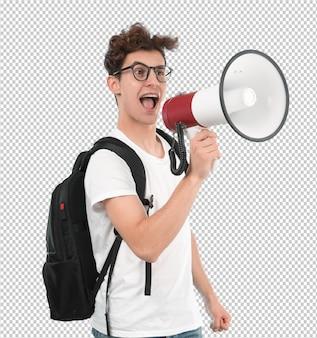Junger student, der ein megaphon verwendet