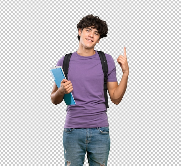 Junger studentenmann, der einen finger im zeichen des besten zeigt und anhebt