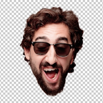 Junger verrückter bärtiger mannausschnitt-kopfausdruck lokalisiert. hipster-rolle mit sonnenbrille. glückliche pose