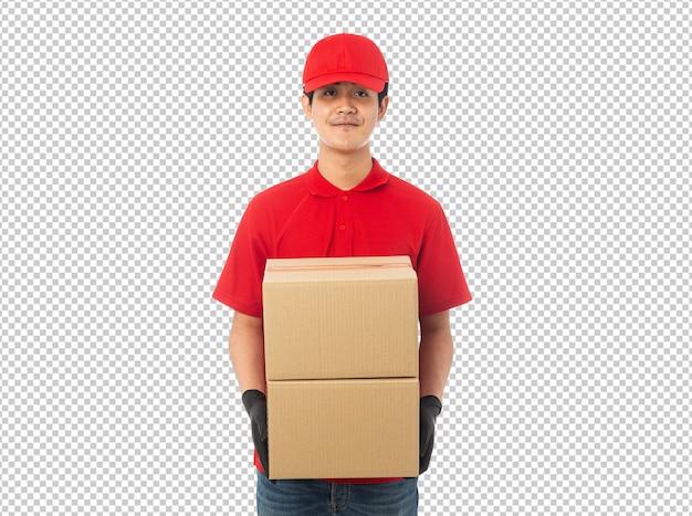 Junger zusteller, der papierkartonschachtmodell hält