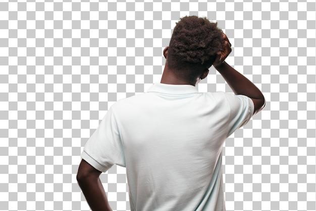 Junges cooles zeichen des schwarzen mannes. person gegen monochromen hintergrund ausschneiden