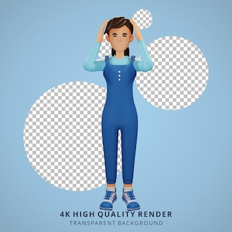 Junges mädchen mit brille schwindlige 3d-charakterillustration