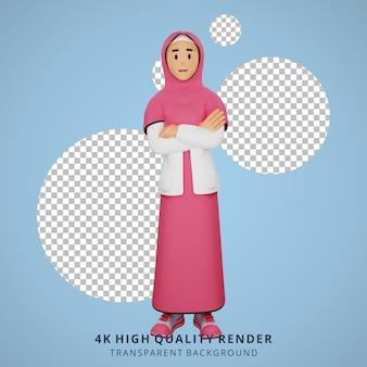 Junges muslimisches mädchen, das arme 3d-charakterillustration verschränkt