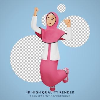 Junges muslimisches mädchen glücklicher sprung 3d-charakterillustration