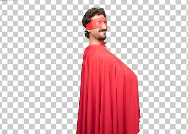Junges verrücktes superheldmann wink-augenkonzept