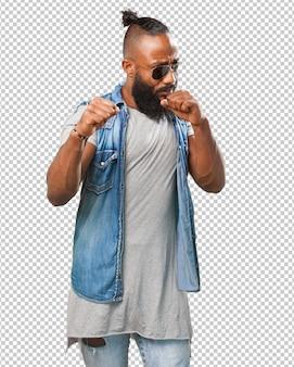 Kämpfender schwarzer mann