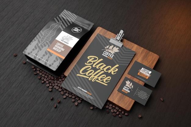 Kaffee-branding-modell im schwarzen design
