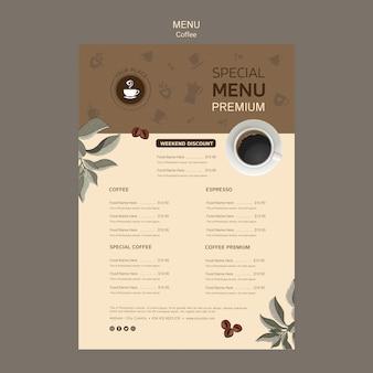Kaffee spezielle menüvorlage