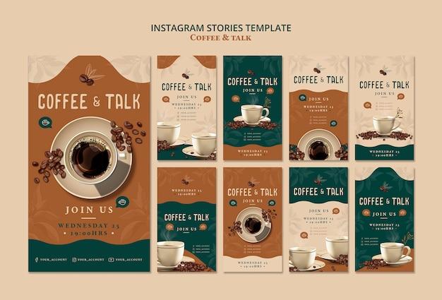 Kaffee und instagram-geschichten