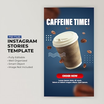 Kaffeebar rabatt vorlage für social media geschichten