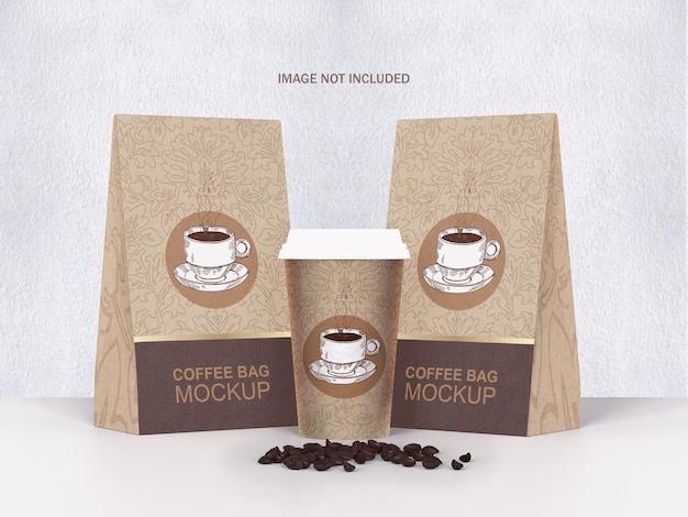 Kaffeebeutel und tasse psd mockup