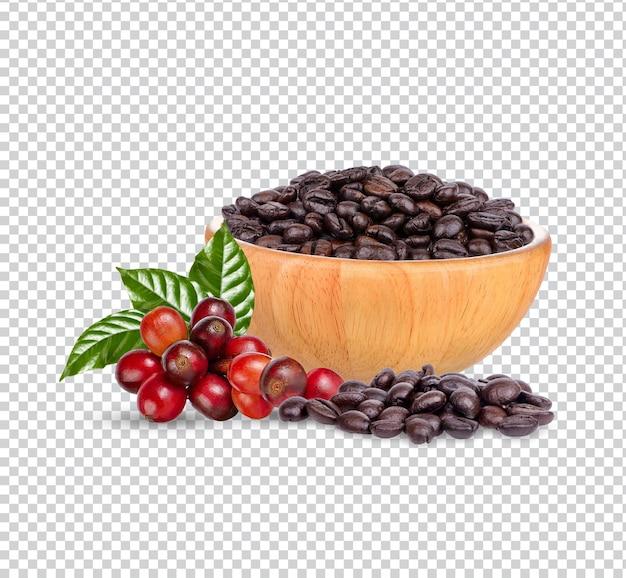 Kaffeebohnen mit blättern isoliert premium psd