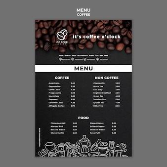 Kaffeemenüvorlage
