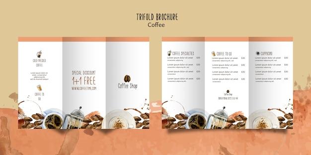 Kaffeethema für broschürenschablone