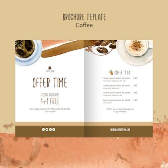 Kaffeethema für gutscheinschablonenkonzept