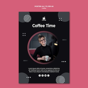 Kaffeezeitkonzeptplakatdesign