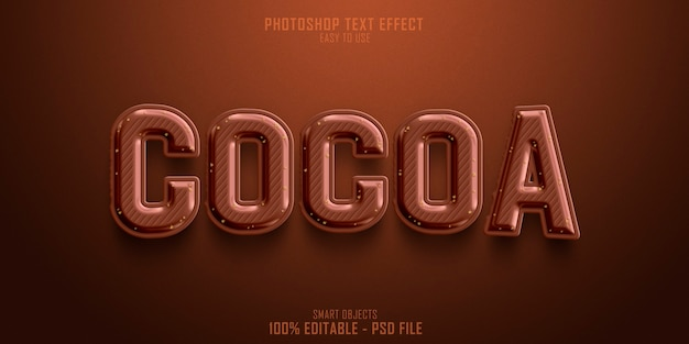 Kakao 3d-textstil-effektschablone