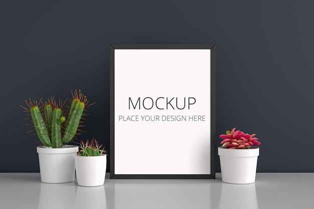 Kaktus und saftige topfpflanze mit rahmenmodell