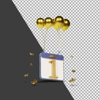 Kalendermonat 1. juli mit goldenen ballons 3d-rendering isoliert