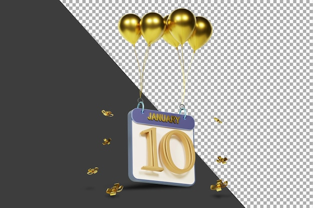 Kalendermonat 10. januar mit goldenen ballons 3d-rendering isoliert