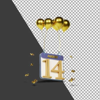 Kalendermonat 14. august mit goldenen ballons 3d-rendering isoliert