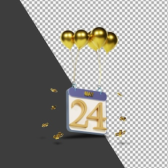 Kalendermonat 24. april mit goldenen luftballons 3d-rendering isoliert