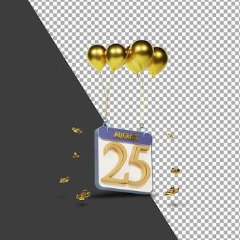 Kalendermonat 25. august mit goldenen ballons 3d-rendering isoliert