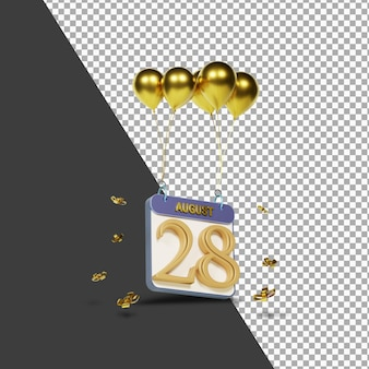 Kalendermonat 28. august mit goldenen ballons 3d-rendering isoliert