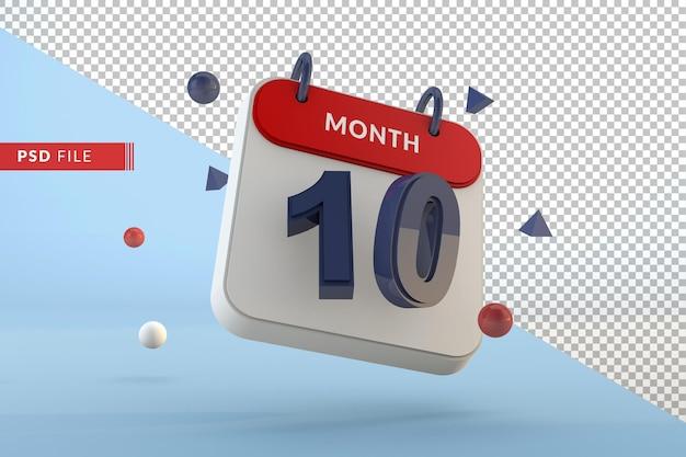 Kalendernummer 10 isolierte vorlage 3d render