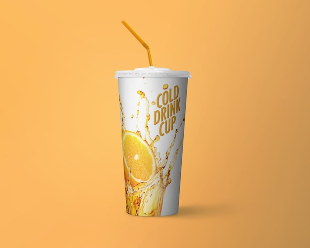 Kaltes getränk cup mockup