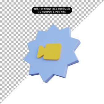 Kamerasymbol der illustration 3d mit abzeichen
