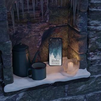 Kamin mit wasserkocher und telefon