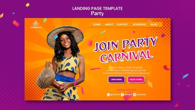 Karneval party landing page
