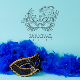 Karnevalsmodell mit bild der maske Kostenlosen PSD