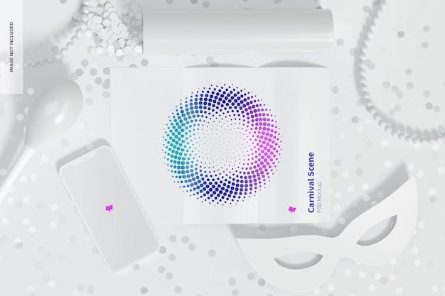 Karnevalsszenenmodell mit broschüre und smartphone
