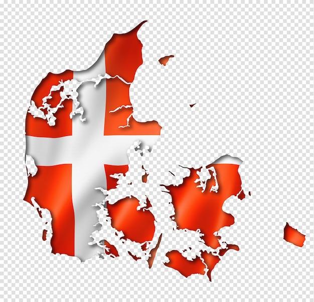 Karte mit dänischer flagge