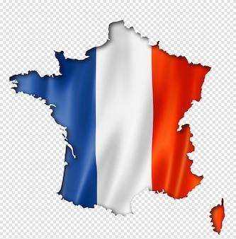 Karte mit französischer flagge