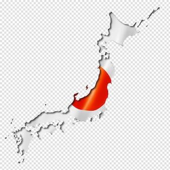 Karte mit japanischer flagge