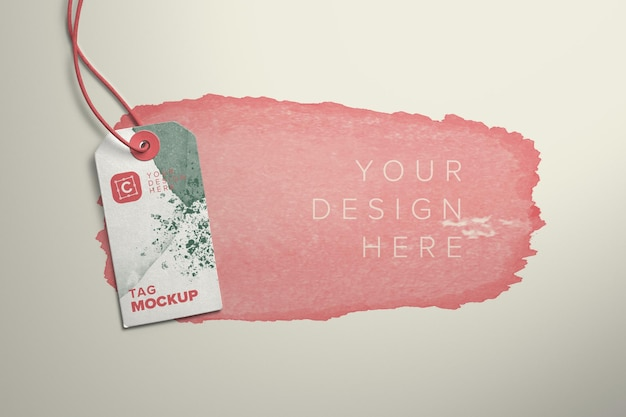 Karten-tag und string-mockup mit bearbeitbarem hintergrund