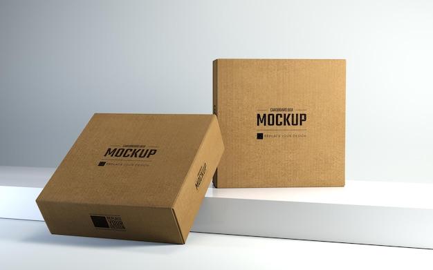 Karton-mockup-designvorlage für die präsentation