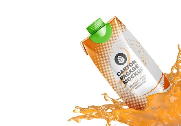 Kartonpaket mit splash mockup Premium PSD